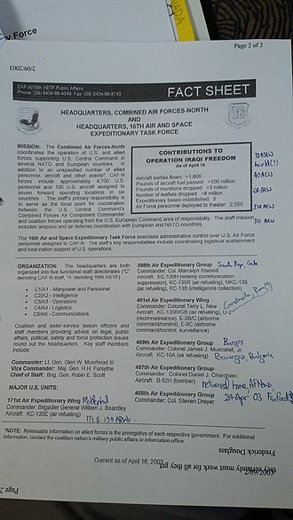 16th Air Expeditionary Task Force - Headquarters, Combined Air Forces-North and Headquarters, 16th Air and Space Expeditionary Task Force fact sheet, dated April 16, 2003