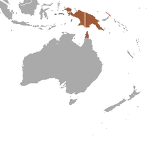 Common Spotted Cuscus range(brown — native, red — introduced, dark gray — origin uncertain)