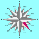Compass rose with southeast highlighted.png