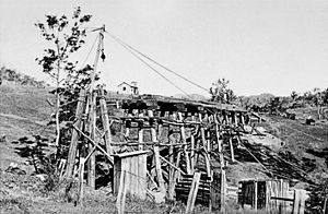 Cangai Copper Mine - Construction of the tramway at Cangai Copper Mine, 1910/11