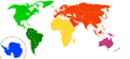 Continents by colour according to plate tectonics.png