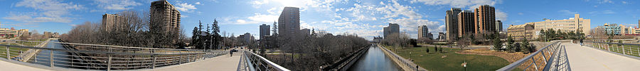 The Rideau Canal as viewed from the Corktown Footbridge