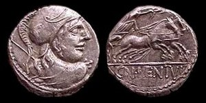 Equirria - Denarius depicting the helmeted head of Mars, with Victory driving a biga on the reverse (issued 88 BC by Gnaeus Cornelius Lentulus Clodianus)