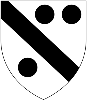 William Cotton (bishop) - Arms of Cotton (Ancient): Argent, a bend sable between three pellets, as seen on top of the monument of Bishop William Cotton in Exeter Cathedral