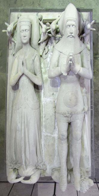 Hugh de Courtenay, 2nd/10th Earl of Devon - Effigies of Hugh de Courtenay, 10th Earl of Devon, and his wife, Margaret de Bohun, south transept, Exeter Cathedral.