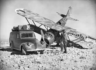 Pat Pattle - A crashed Fiat CR.42, North Africa circa 1940/41. Pattle claimed 14 of these aircraft—more than any other type.