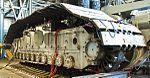 Crawler-transporter 2 undergoing maintenance on roller bearing assemblies 2013.jpg