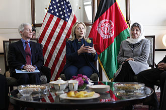 Sima Samar - U.S. Secretary of State Hillary Clinton and Ambassador Ryan Crocker meet with Sima Samar inside the American Embassy in Kabul.