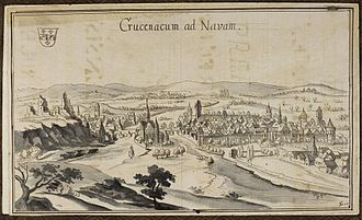 "Bad Kreuznach - Drawing ""Crucenacum ad Navam"", about 1747, by Theodor Gottfried Thum"
