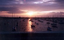 Dún Laoghaire harbour at sunset.jpg