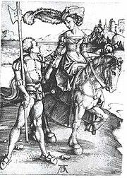 Dürer - Fräulein zu Pferd und Landknecht