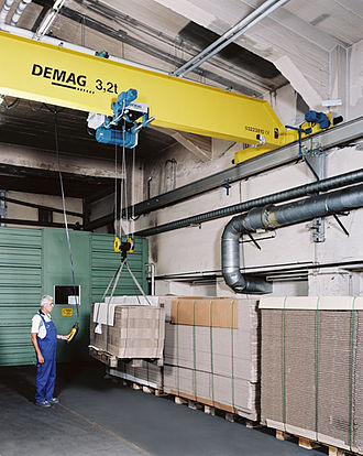 Overhead crane - An overhead crane, featuring runways, bridge, and hoist in a traditional industrial environment.