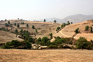Shan Hills - Deforested landscape in the Shan Hills near Kalaw during the dry season.