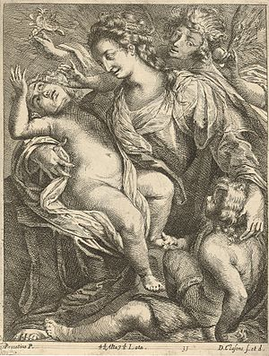 Dominicus Claessens - Virgin and Child accompanied by St John and an Angel, engraving after Giulio Cesare Procaccini