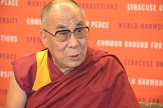 "According to the 14th Dalai Lama, the CIA supported the Tibetan independence movement ""not because they (the CIA) cared about Tibetan independence, but as part of their worldwide efforts to destabilize all communist governments"". Dalai Lama at Syracuse University 01.jpg"