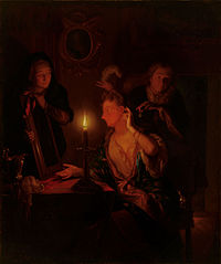 Lady at a Mirror by Candlelight