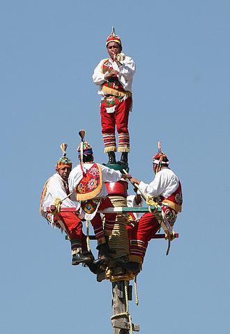 Danza de los Voladores - Flying Men starting their dance, Teotihuacan