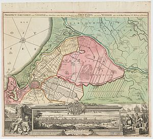 Siege of Danzig (1734) - An early 18th-century map depicting Danzig and surrounding area
