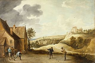 Landscape with Peasants Playing Bowls Outside an Inn