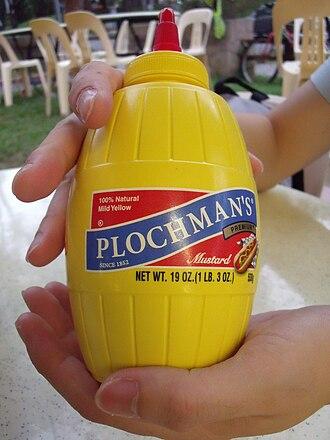 Mustard (condiment) - A bottle of American yellow mustard