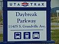 Daybreak Parkway station street sign, Apr 16.jpg