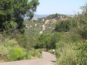 De Luz Heights, California - View north of De Luz Heights Road, to its terminus at Big Rock Ranch.