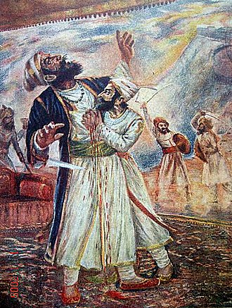 Shivaji - An early-20th-century painting by Sawlaram Haldankar of Shivaji fighting the Bijapuri general Afzal Khan