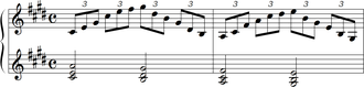 Chord (music) - Image: Debussy Premiere Arabesque melody and chords