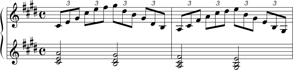 Debussy Premiere Arabesque melody and chords