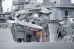 Deck crane of JS Nichinan(AGS-5105) left rear view at JMSDF Yokosuka Naval Base April 30, 2018 01.jpg