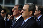 Defense.gov News Photo 111003-F-RG147-194 - Secretary of Defense Leon E. Panetta left and Israeli Minister of Defense Ehud Barak stand for the playing of the U.S. national anthem during an.jpg