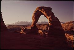 Delicate Arch Is the Most Famous Arch in the Park. The Lasal Mountains Are behind to the East, 05-1972 (3814961748).jpg