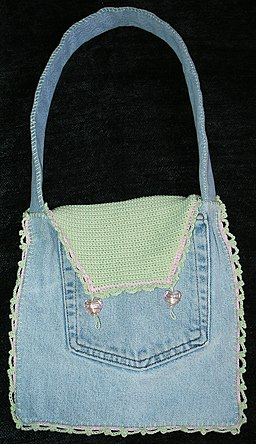 Denim crochet purse