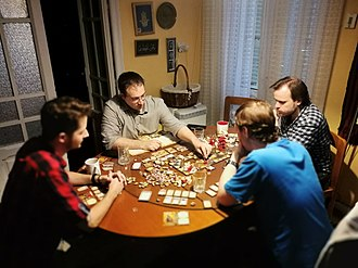 Descent: Journeys in the Dark - Players with the Descent board game