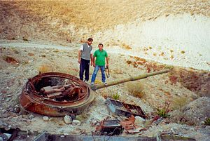Tajikistani Civil War - Image: Destroyed turret of a T 62 in Tajikistan