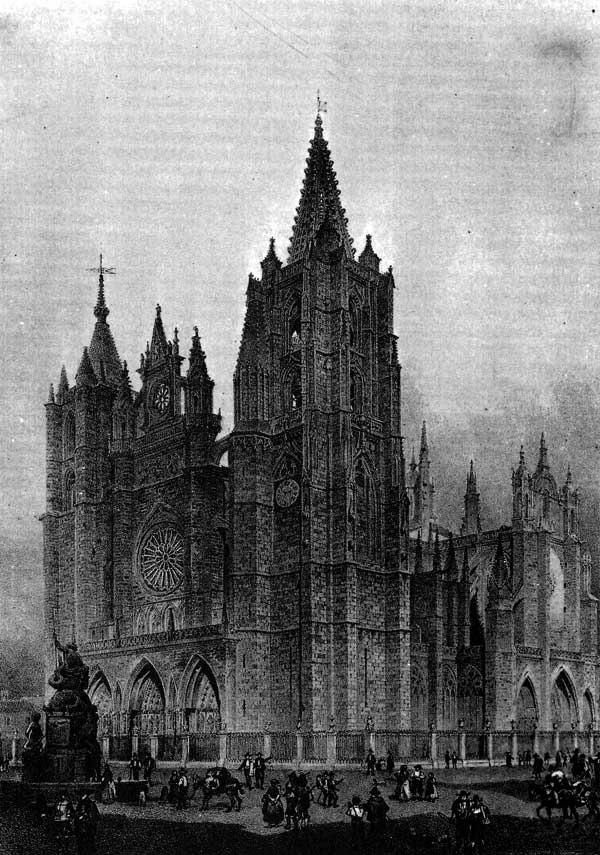 Dibujo catedral de León 1850