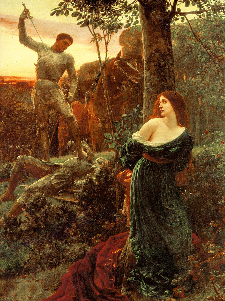 Old painting of two knights in battle as a woman observes with fear.