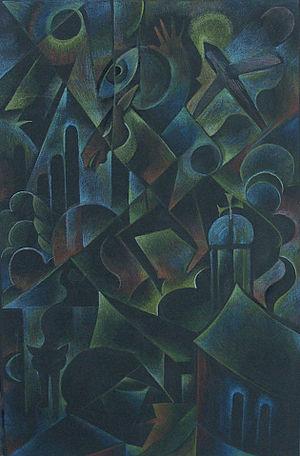 Hedwig Marquardt - Die Stadt, coloured crayon on black paper, 35x23cm