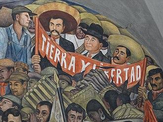 Zapata (lithograph) - Image: Diego Rivera mural featuring Emiliano Zapata