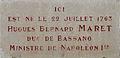 Dijon plaque commémorative Hugues Bernard MARET duc de Bassano.jpg