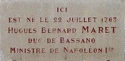 Dijon plaque commémorative Hugues Bernard MARET duc de Bassano