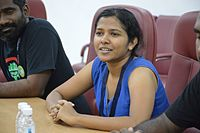 Dinu Kumarasiri Talks with Katherine Maher - Wiki Conference India - CGC - Mohali 2016-08-05 7215.JPG