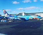 Disney's FROZEN Plane - Westjet - Calgary International Aiport YYC (26058325922).jpg