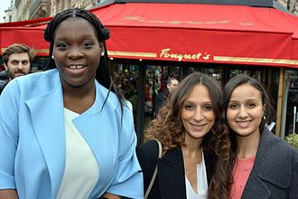 Divines (film) - Actress Déborah Lukumuena, director Houda Benyamina and actress Oulaya Amamra attend the luncheon for the 42nd César Awards.