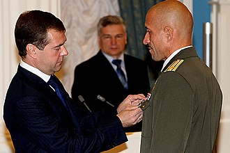 Anatoly Lebed - President Medvedev decorating Lt Col Lebed with the Order of St George 4th class on October 1, 2008
