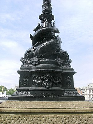 Albert Embankment - Sturgeon lamp standards line the embankment.