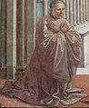 Domenico Ghirlandaio und Werkstatt, Stifterbildnis Giovanni Tornabuoni, 1486–1490, Fresko, Stirnwand, Tornabuoni-Kapelle, Santa Maria Novella, Florenz.jpg
