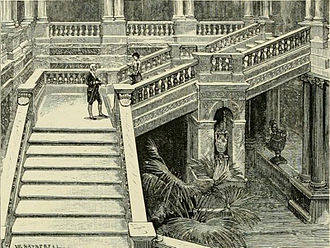 """Dorchester House - Illustration from """"The Magazine of Art"""" 1883 showing details of the central staircase of Dorchester House"""