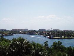 Downtown Boca Raton skyline, seen northwest from the observation tower of the Gumbo Limbo Environmental Complex