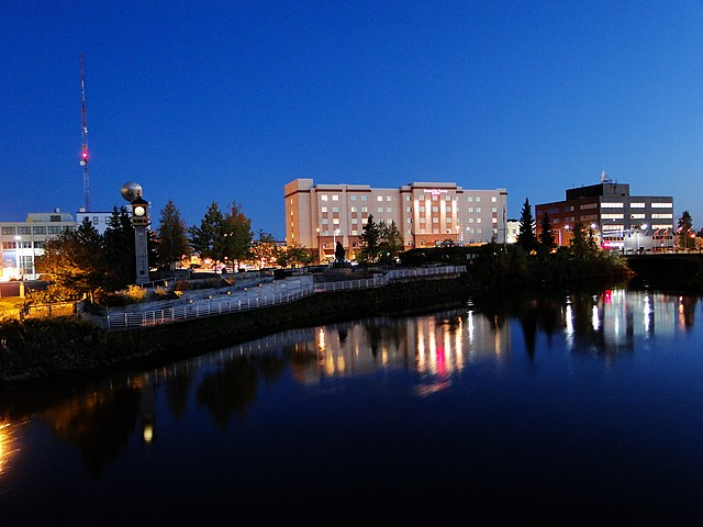 Downtown Fairbanks, Alaska straddles both sides of the Chena River. Photo by FairbanksMike.